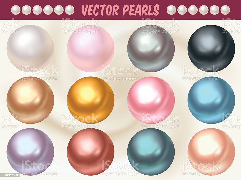 Vector Pearls in Different Colors vector art illustration