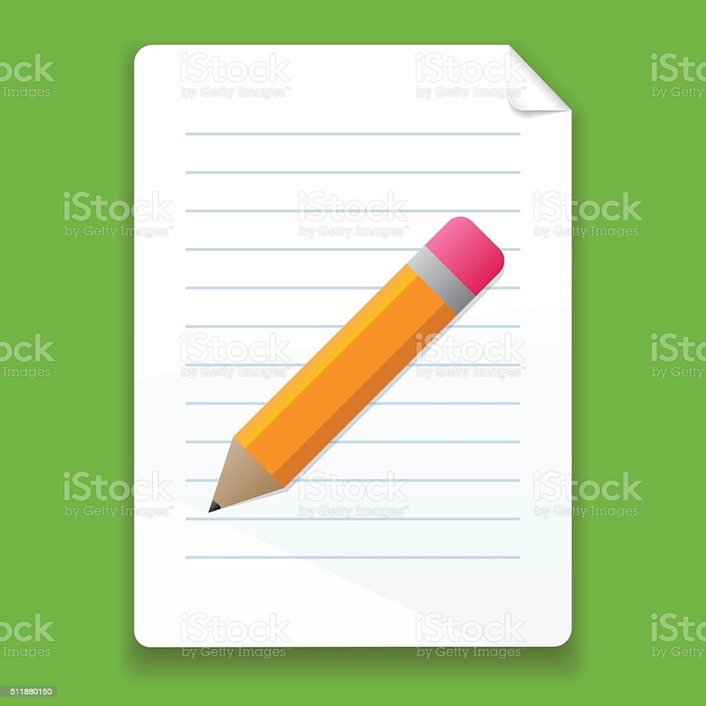 Vector pencil and a piece of paper vector art illustration