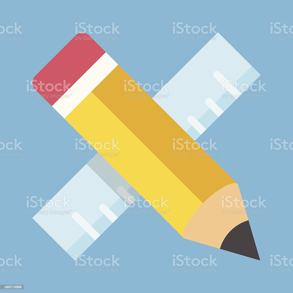 Vector Pencil and Ruler Icon vector art illustration
