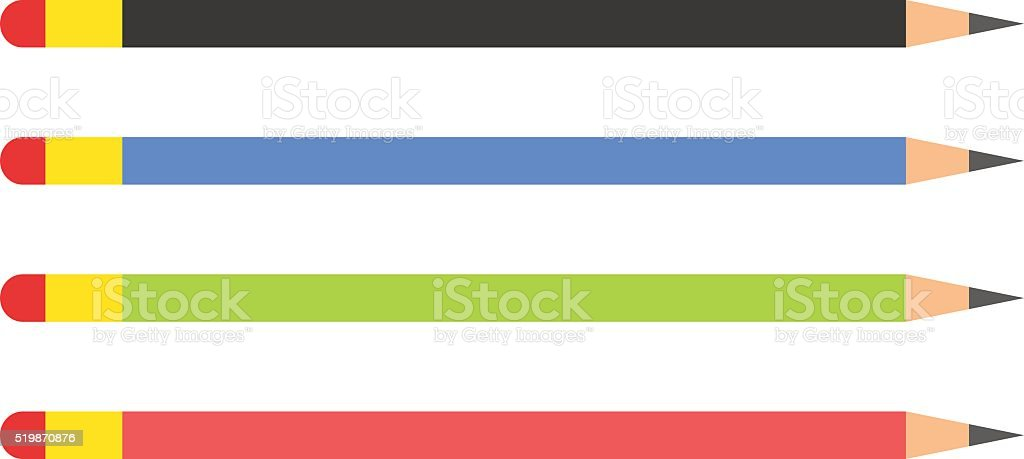 Vector pencils illustration. Colored flat education tools isolated silhouette vector art illustration