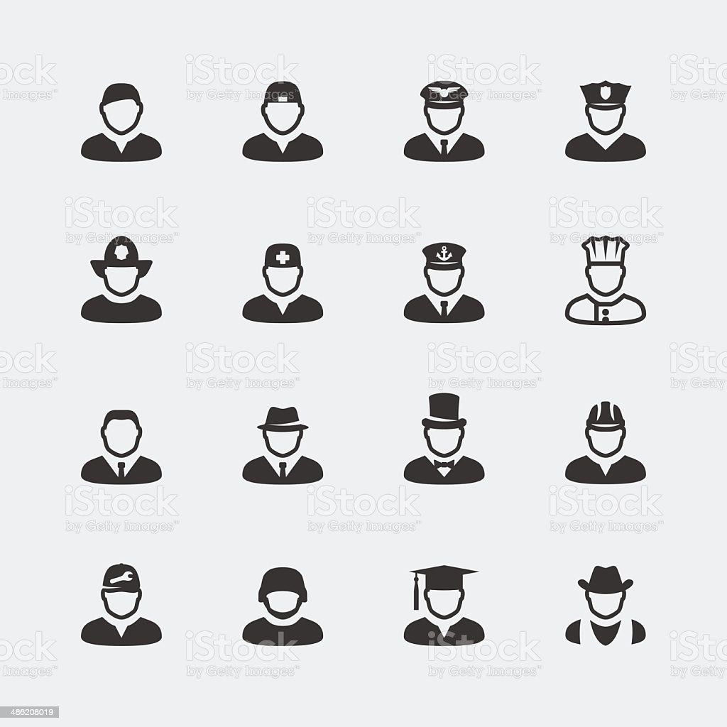 Vector people and professions mini icons set vector art illustration