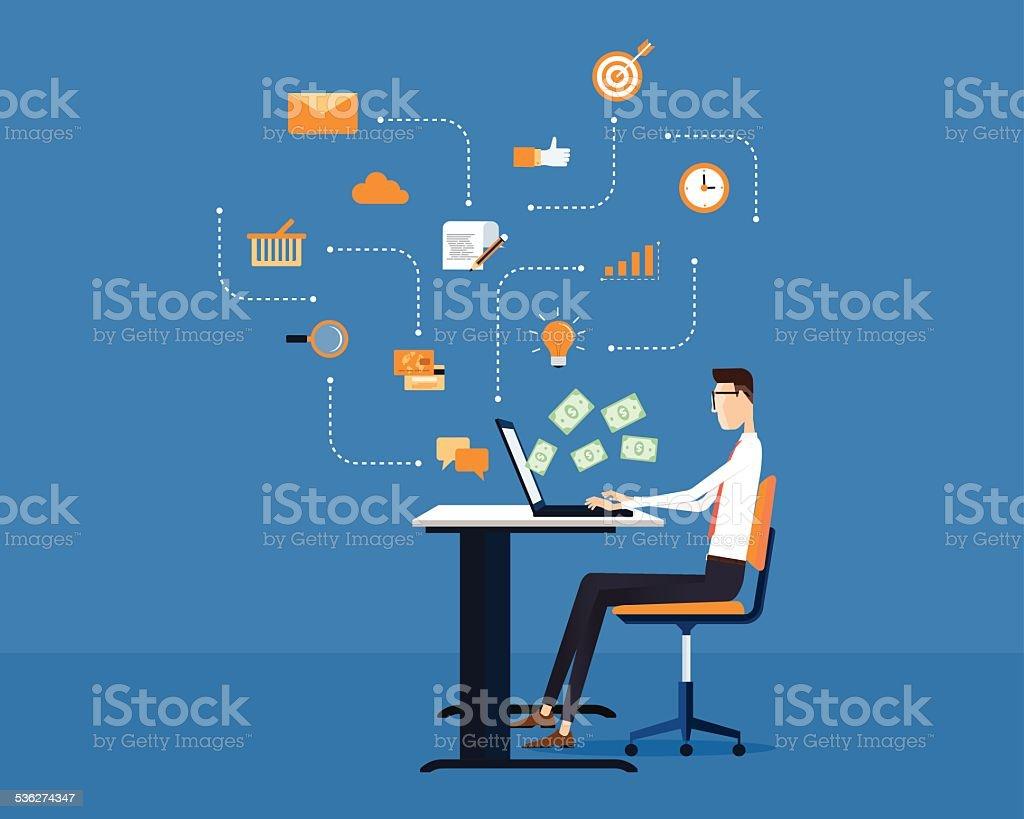 vector people business making earning online background vector art illustration