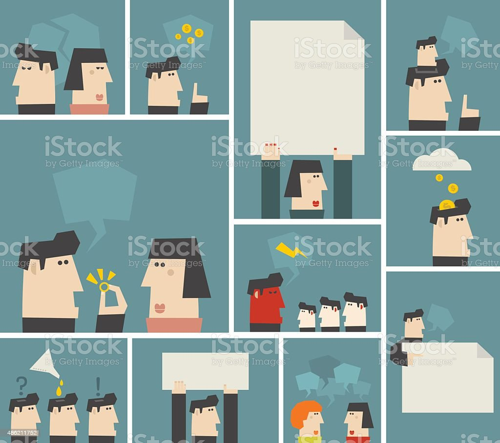 Vector people. Men and women banners. vector art illustration