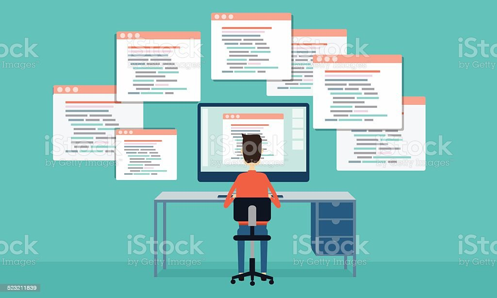 vector people programing develop web site and application vector art illustration