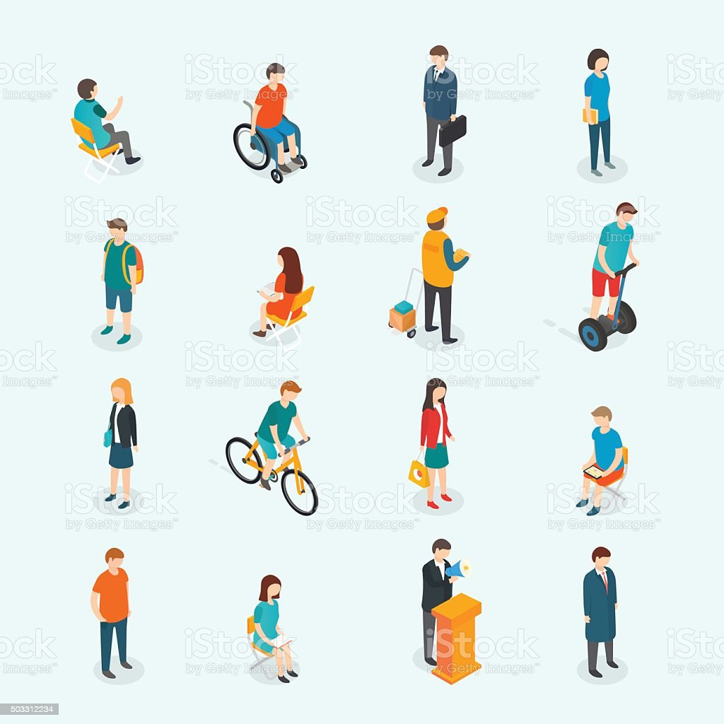 Vector people. Set of woman and man. vector art illustration