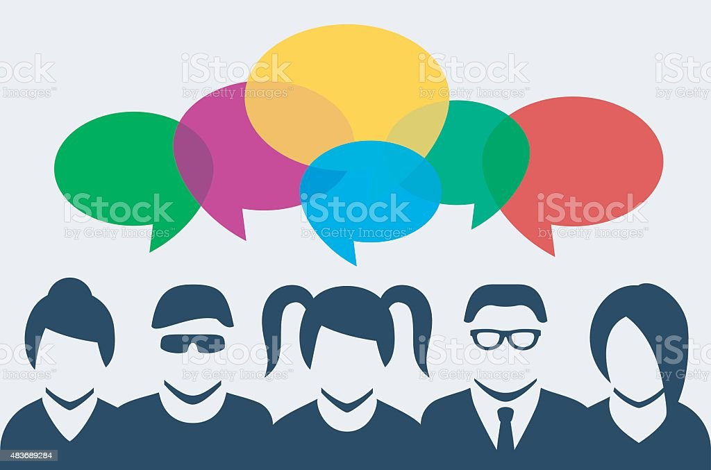 Vector people silhouettes with colorful dialog speech bubbles above vector art illustration