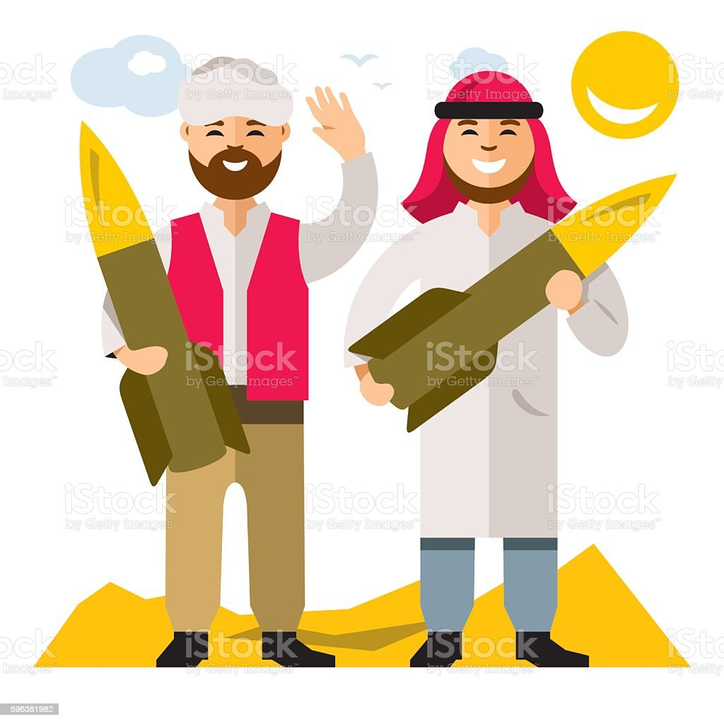 Vector People with warheads. Flat style colorful Cartoon illustration. vector art illustration