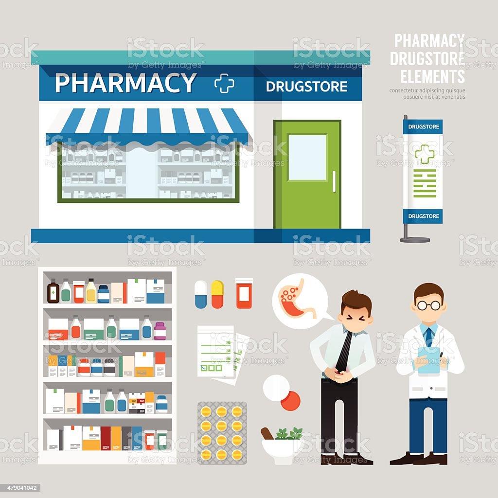 Vector pharmacy drugstore set design, shop store, package, t-shi vector art illustration