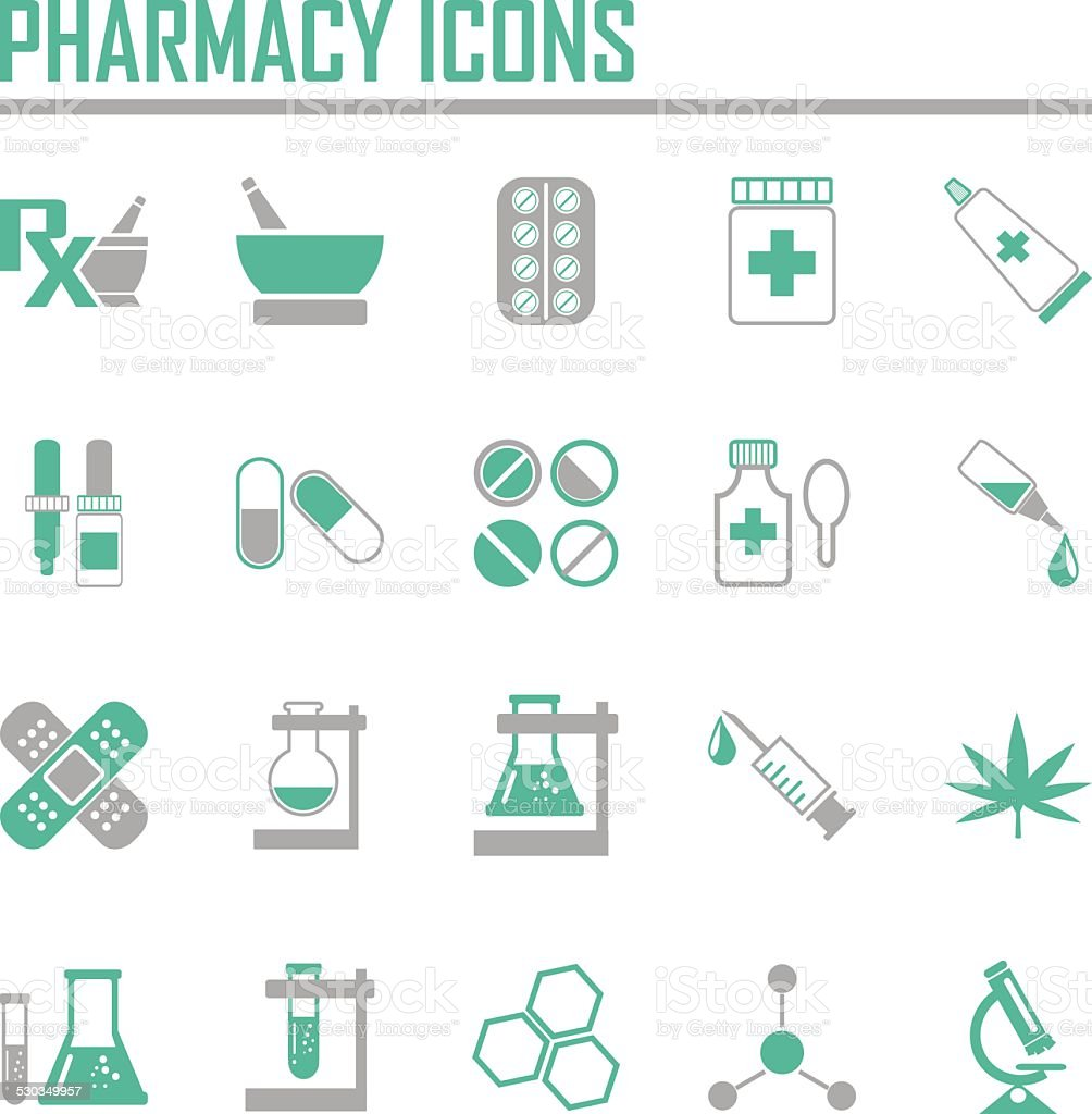 Vector pharmacy icons - in green color vector art illustration