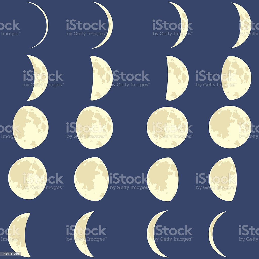 vector phases of the moon vector art illustration