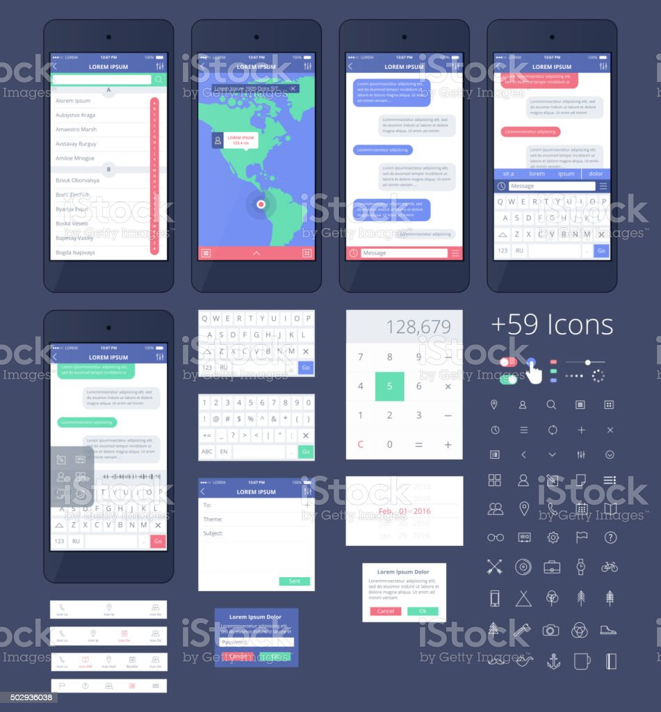 Vector Phone GUI Template for Ai. Wireframe UI Kit. vector art illustration