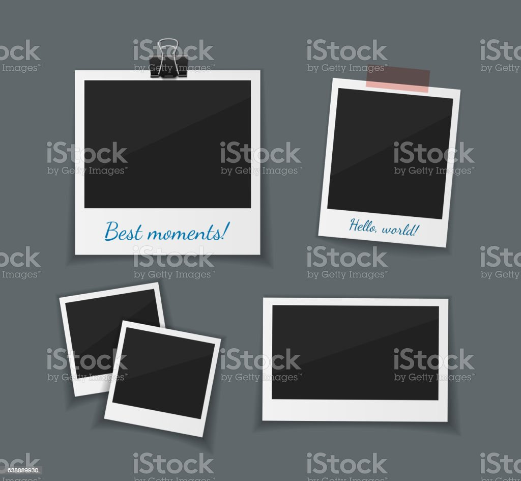 Vector  photo frames sticked with tape and hanged on paper vector art illustration