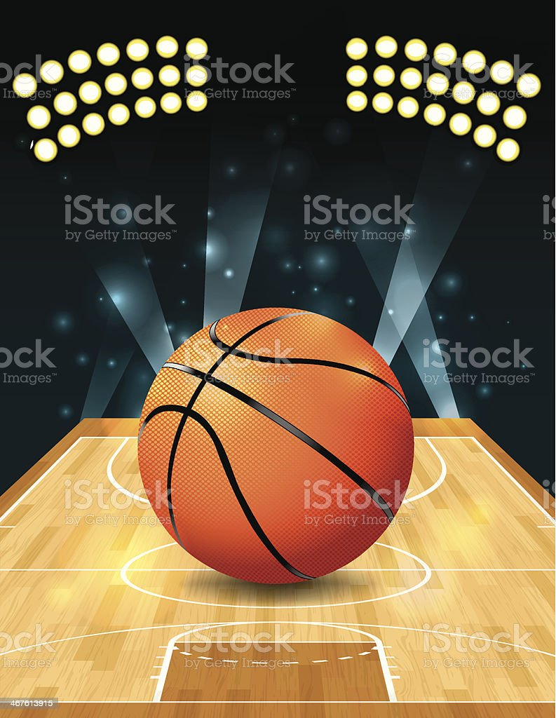 Vector photograph of a basketball court vector art illustration