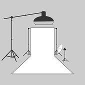 vector photographer studio lighting equipment icon