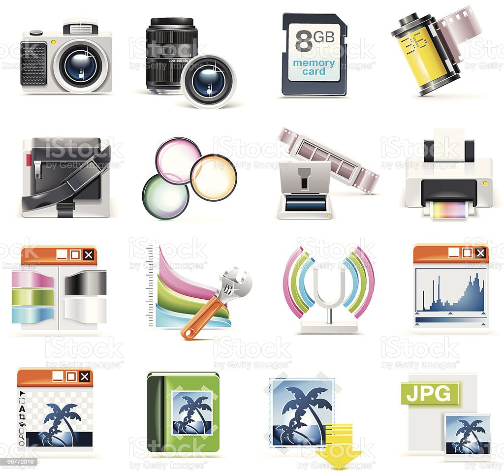 Vector photography icon set royalty-free stock vector art