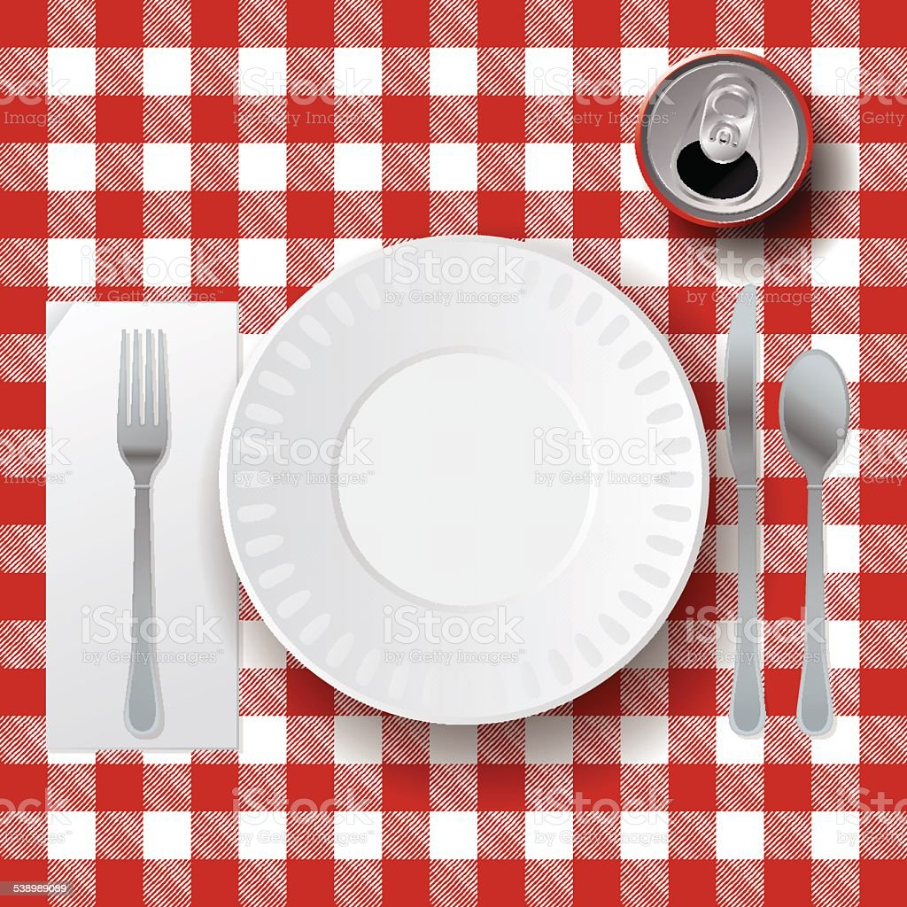 Vector Picnic Casual Dining Placesetting Illustration vector art illustration