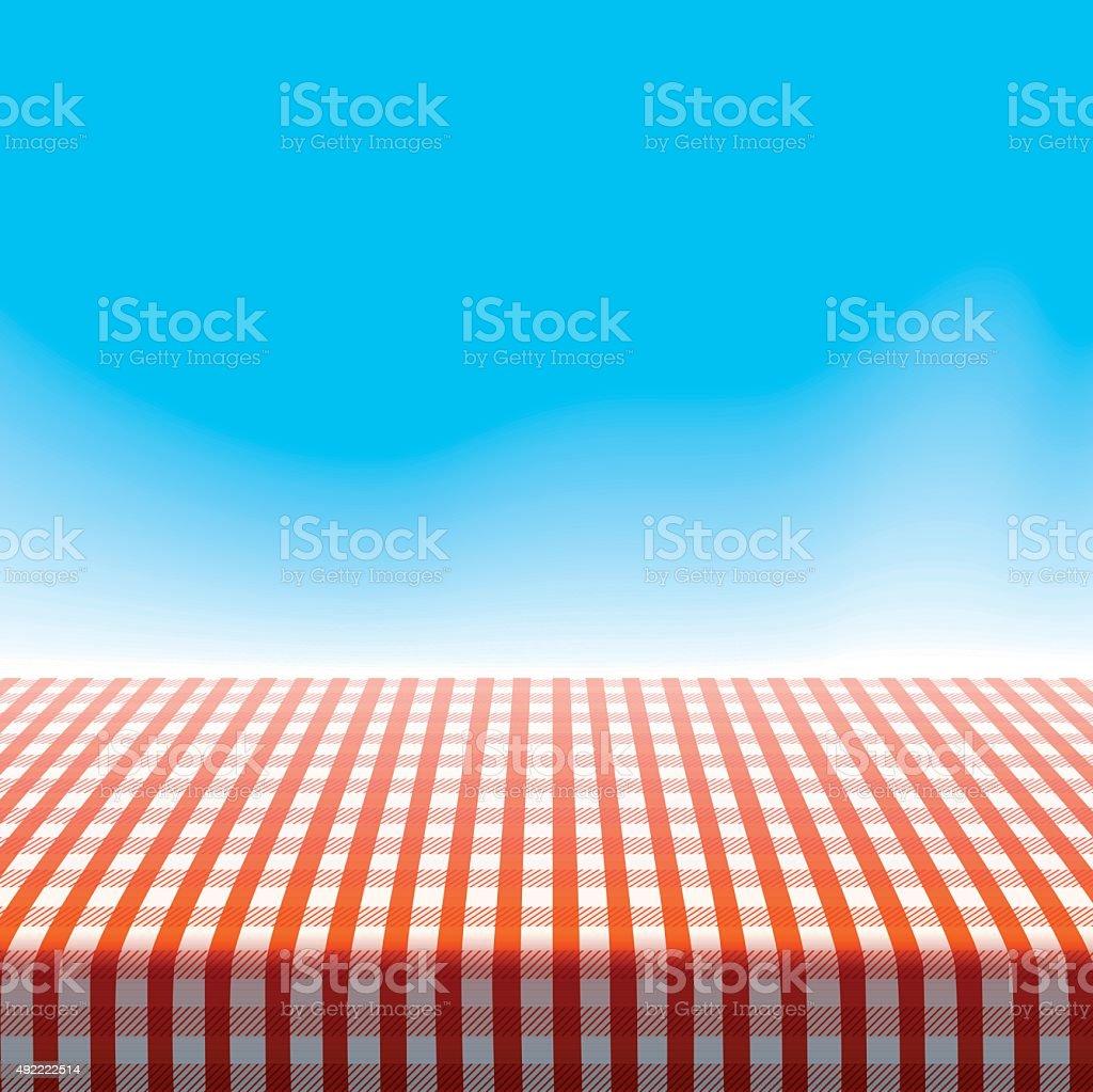 Vector picnic table on blue sky. vector art illustration