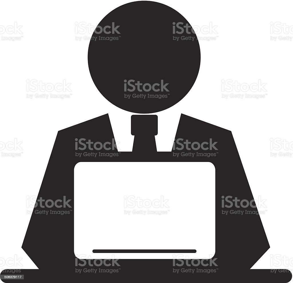 Vector Pictogram Businessman Working on Computer vector art illustration