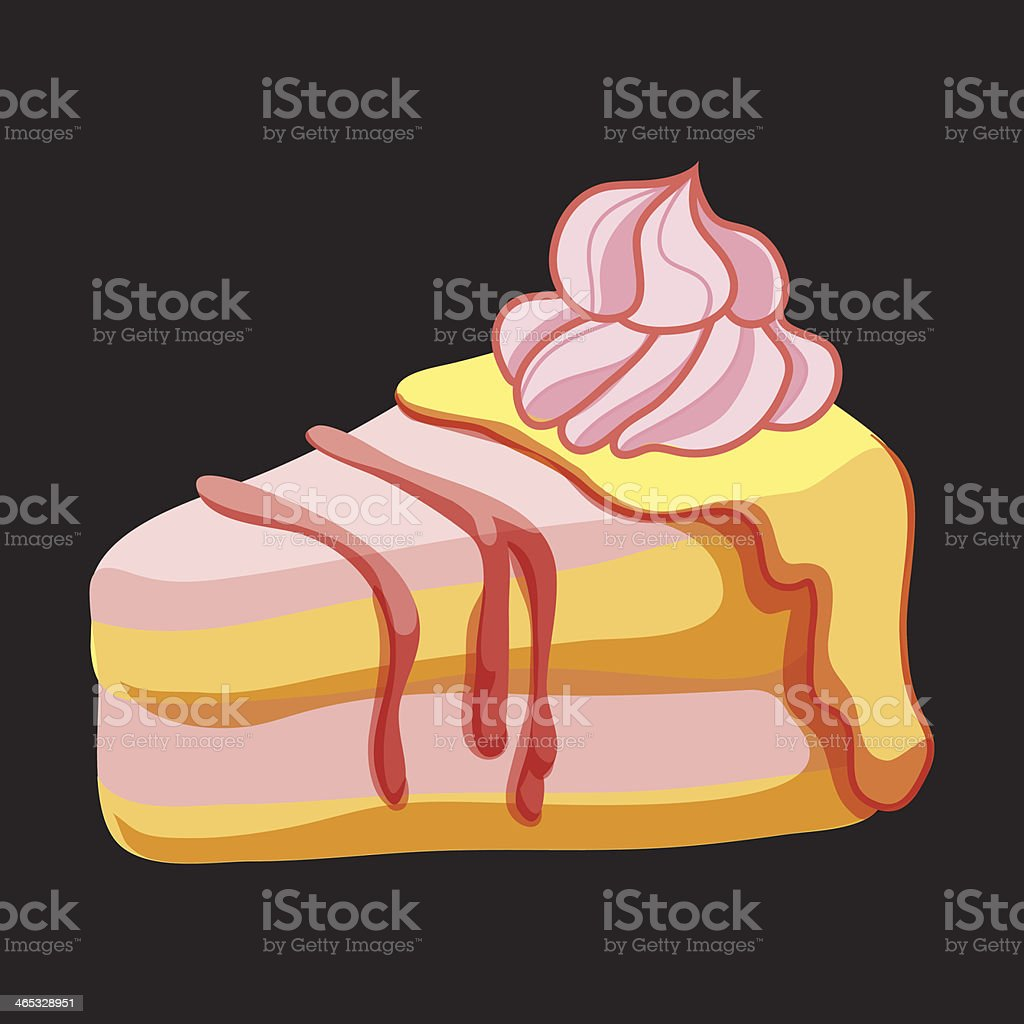 Vector Piece of Strawberry cake royalty-free stock vector art