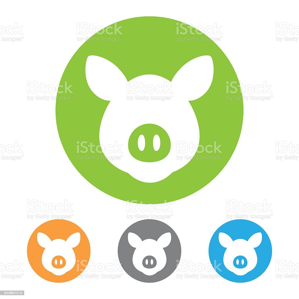 Vector pig icon vector art illustration