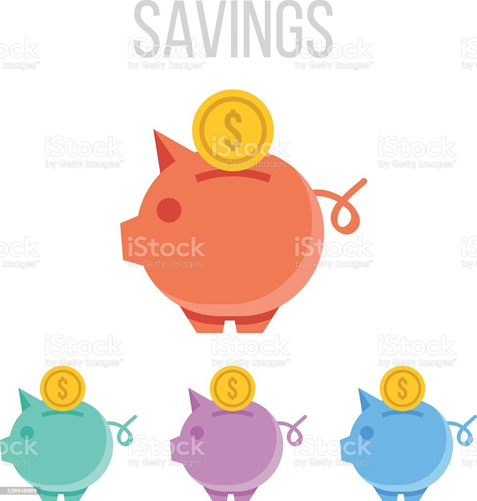 Vector piggy bank icons vector art illustration