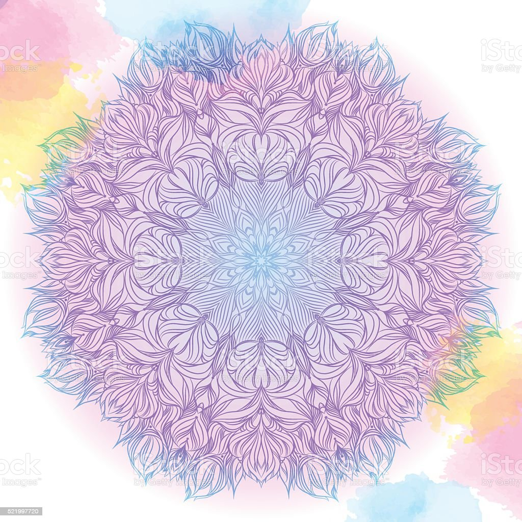 Vector  pink and blue mandala with watercolor stains. Decor for vector art illustration