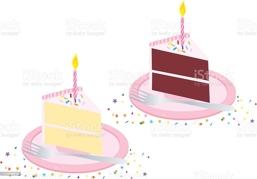 Vector pink birthday cake with candle royalty-free stock vector art