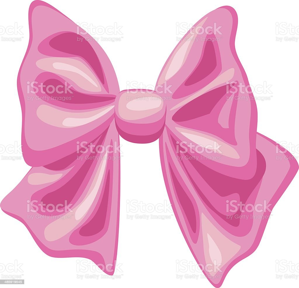 vector pink bow on white background vector art illustration
