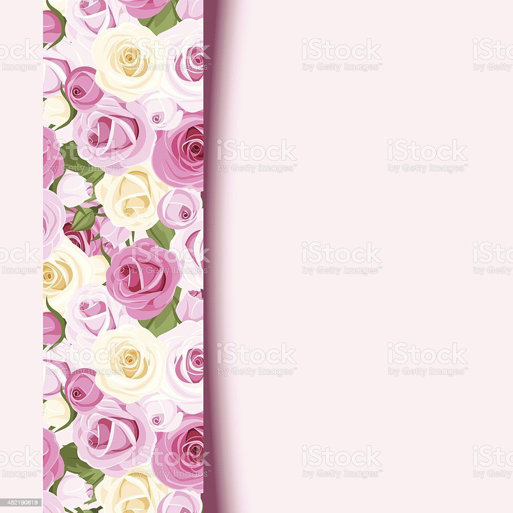 Vector pink card with roses. royalty-free stock vector art