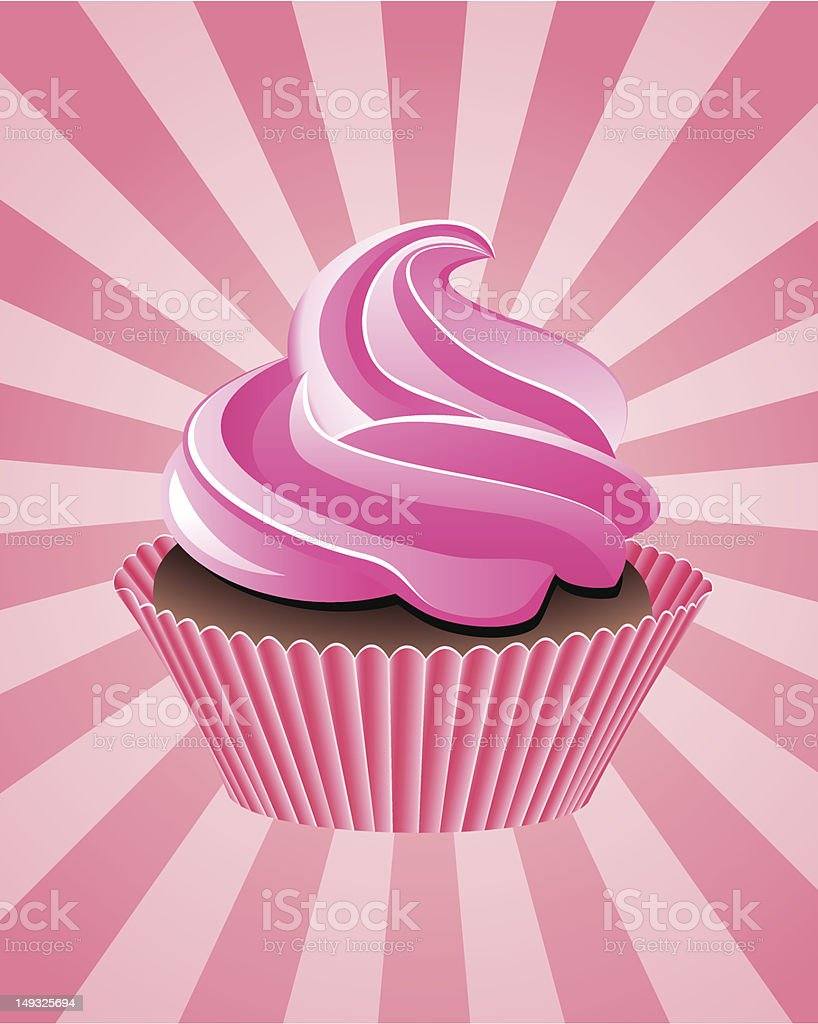 vector pink cupcake vector art illustration