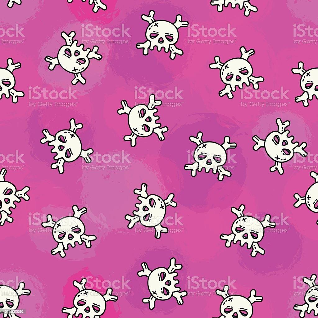 Vector pink skull pattern. vector art illustration