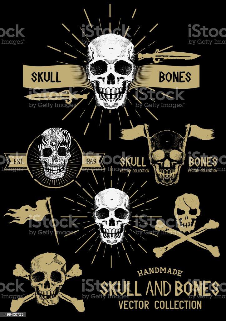Vector Pirate Skull and Bones Set vector art illustration
