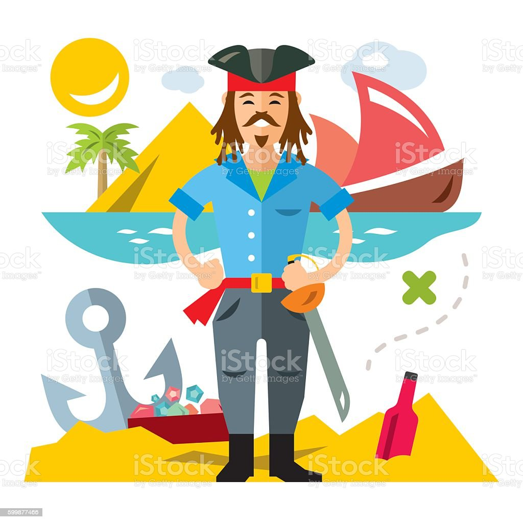 Vector Pirate with saword. Flat style colorful Cartoon illustration. vector art illustration