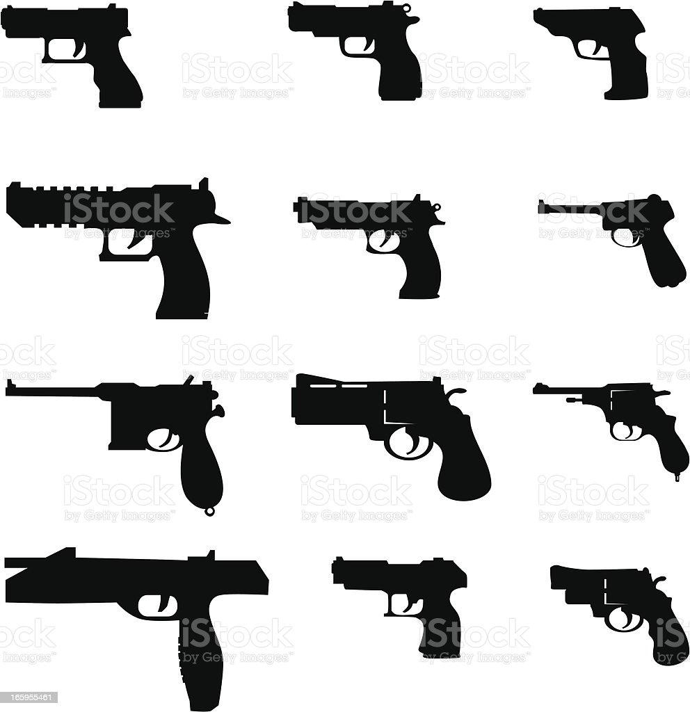 vector pistols vector art illustration
