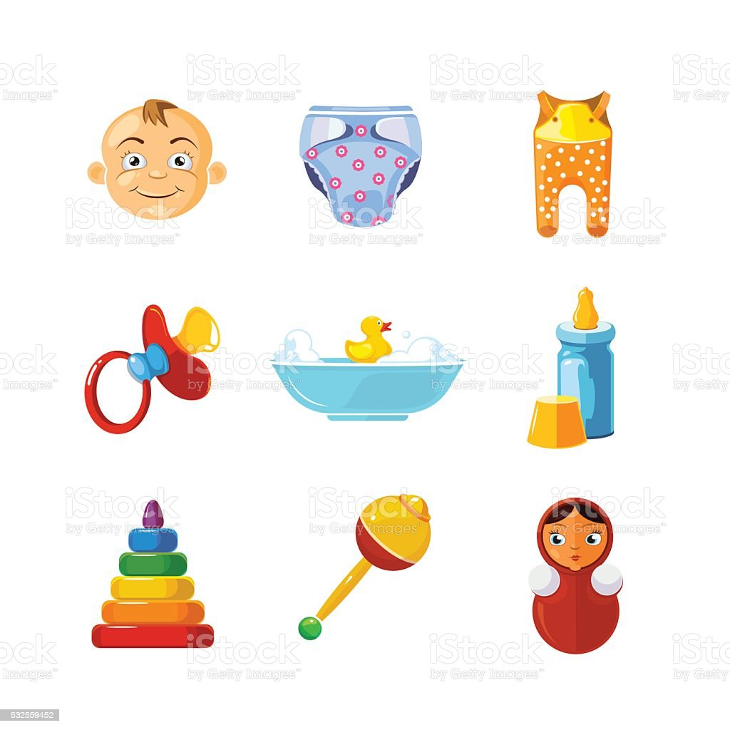 Vector pistures of Toys icons set isolate on white background. vector art illustration