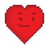 Vector pixel art heart for game