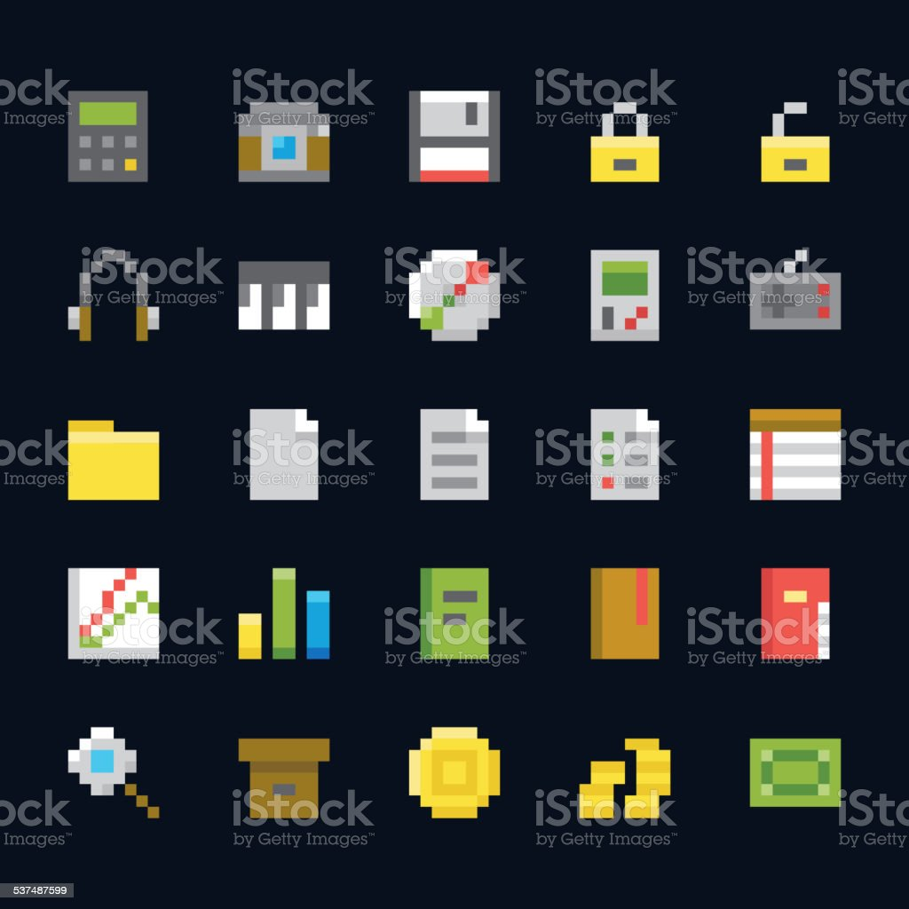 Vector Pixel Art Icons Set 2 vector art illustration