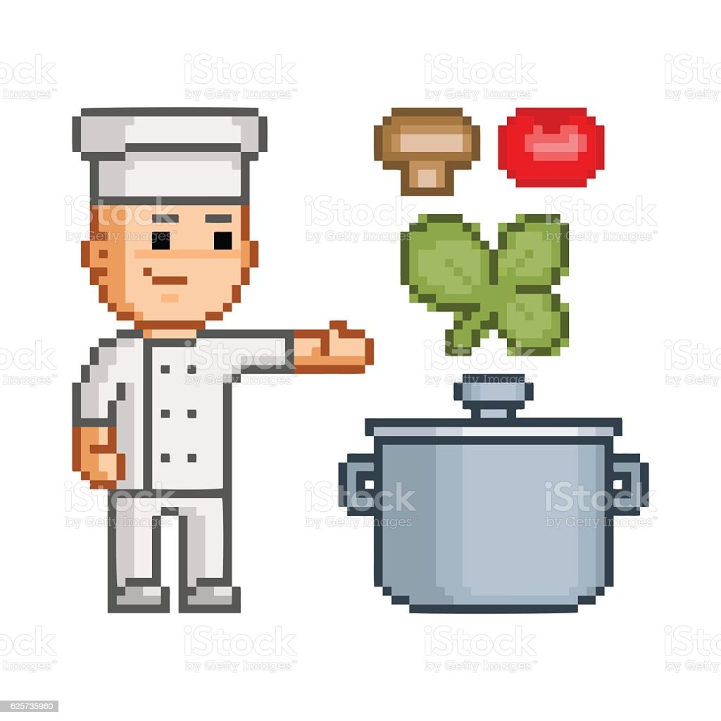 Vector pixel art smiling cook vector art illustration