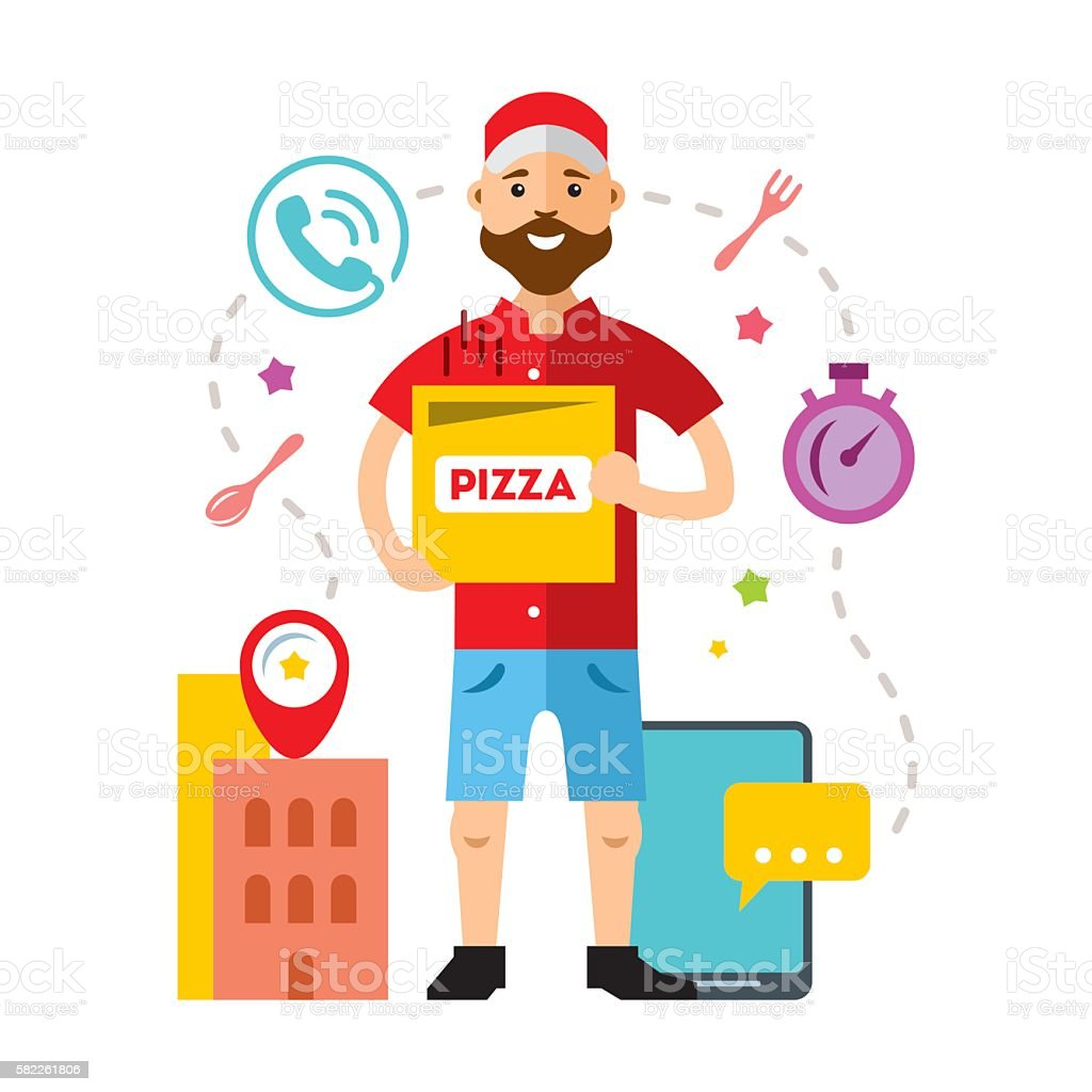 Vector Pizza Delivery. Flat style colorful Cartoon illustration. vector art illustration