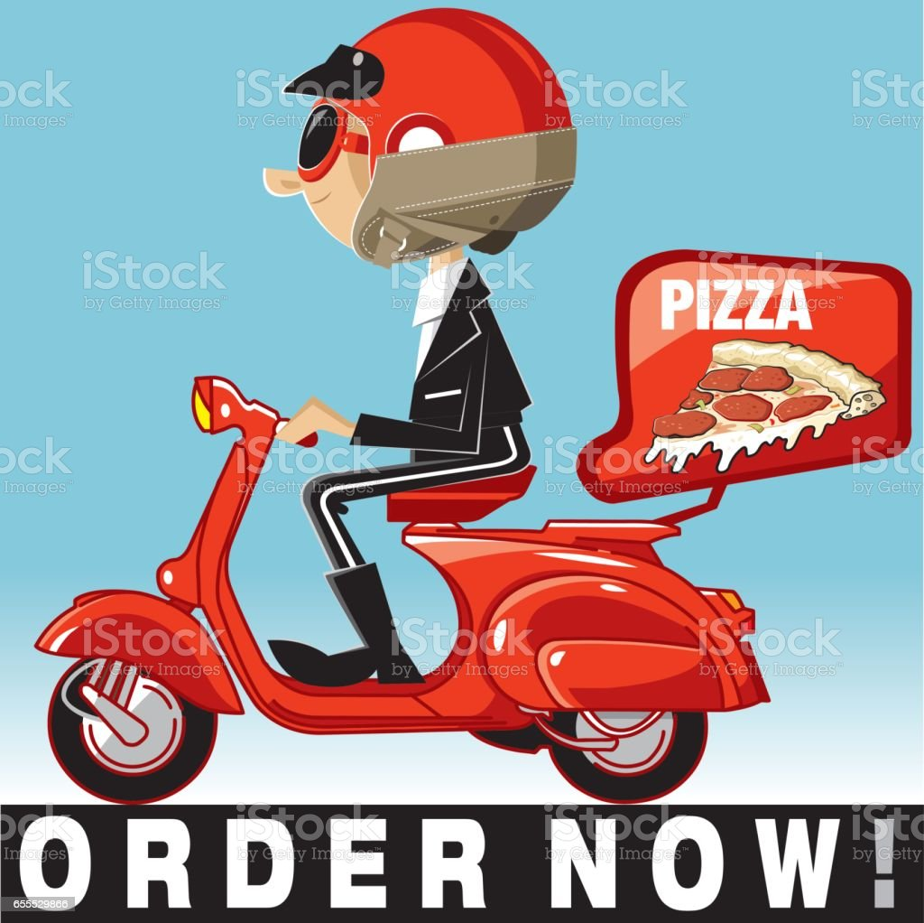 Vector pizza delivery vector art illustration
