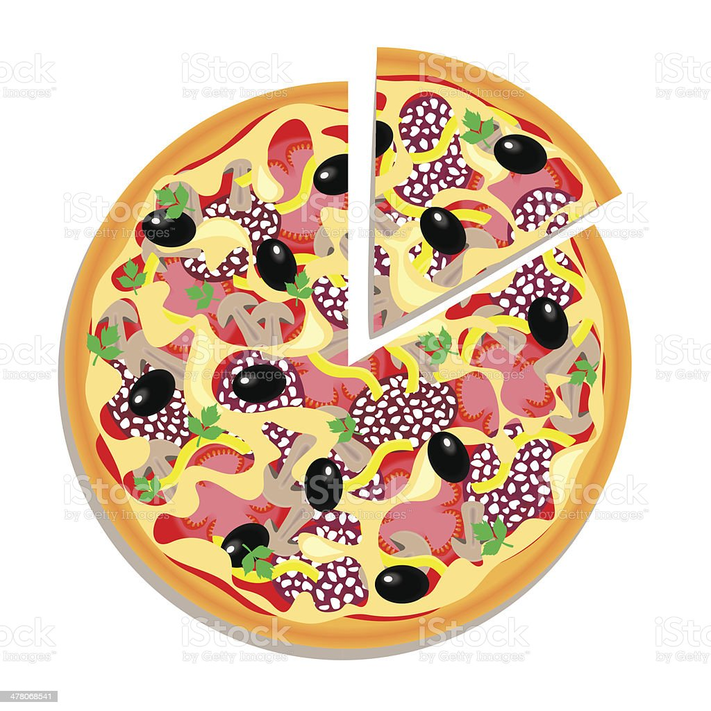 Vector pizza with sliced piece isolated on white background royalty-free stock vector art