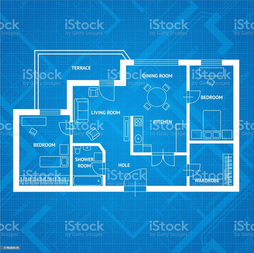 Vector plan blue print.  Flat Design vector art illustration