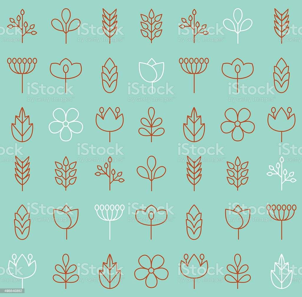 Vector plant icons background vector art illustration
