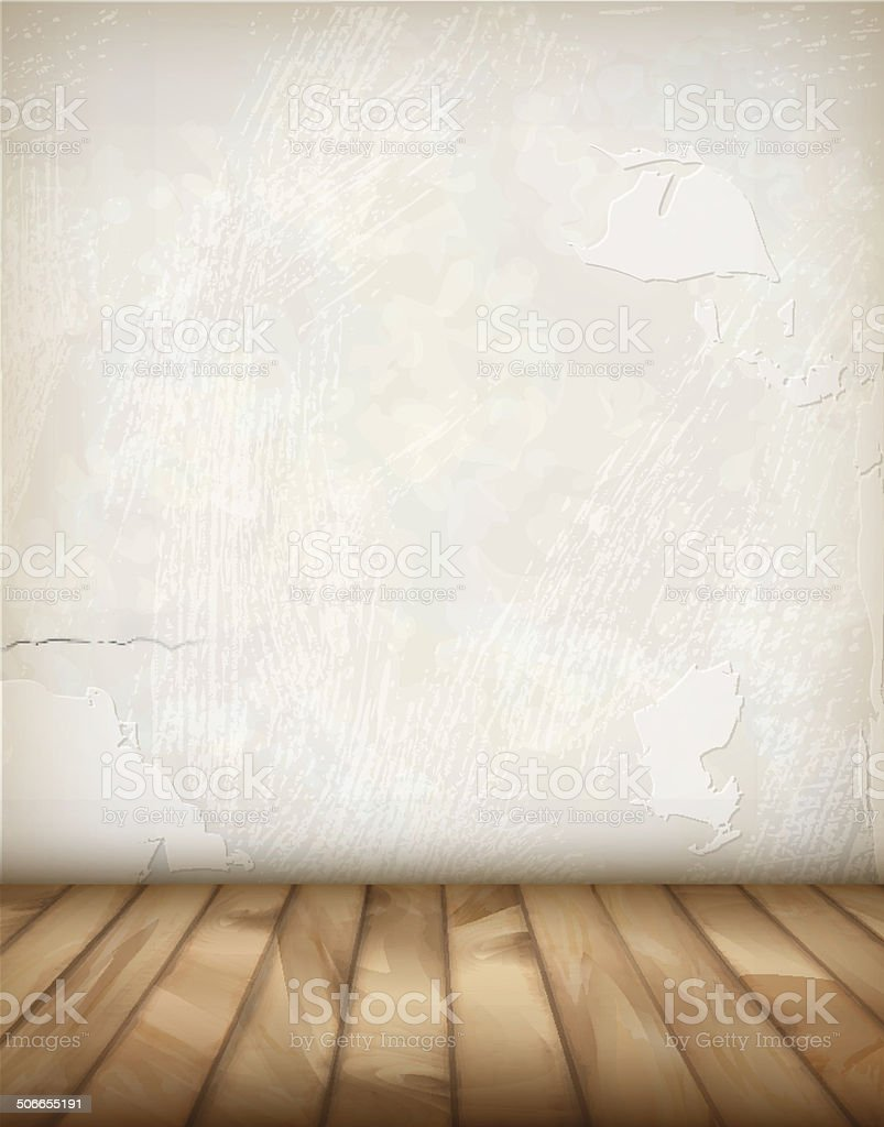 Vector Plaster Wall Wood Floor vector art illustration