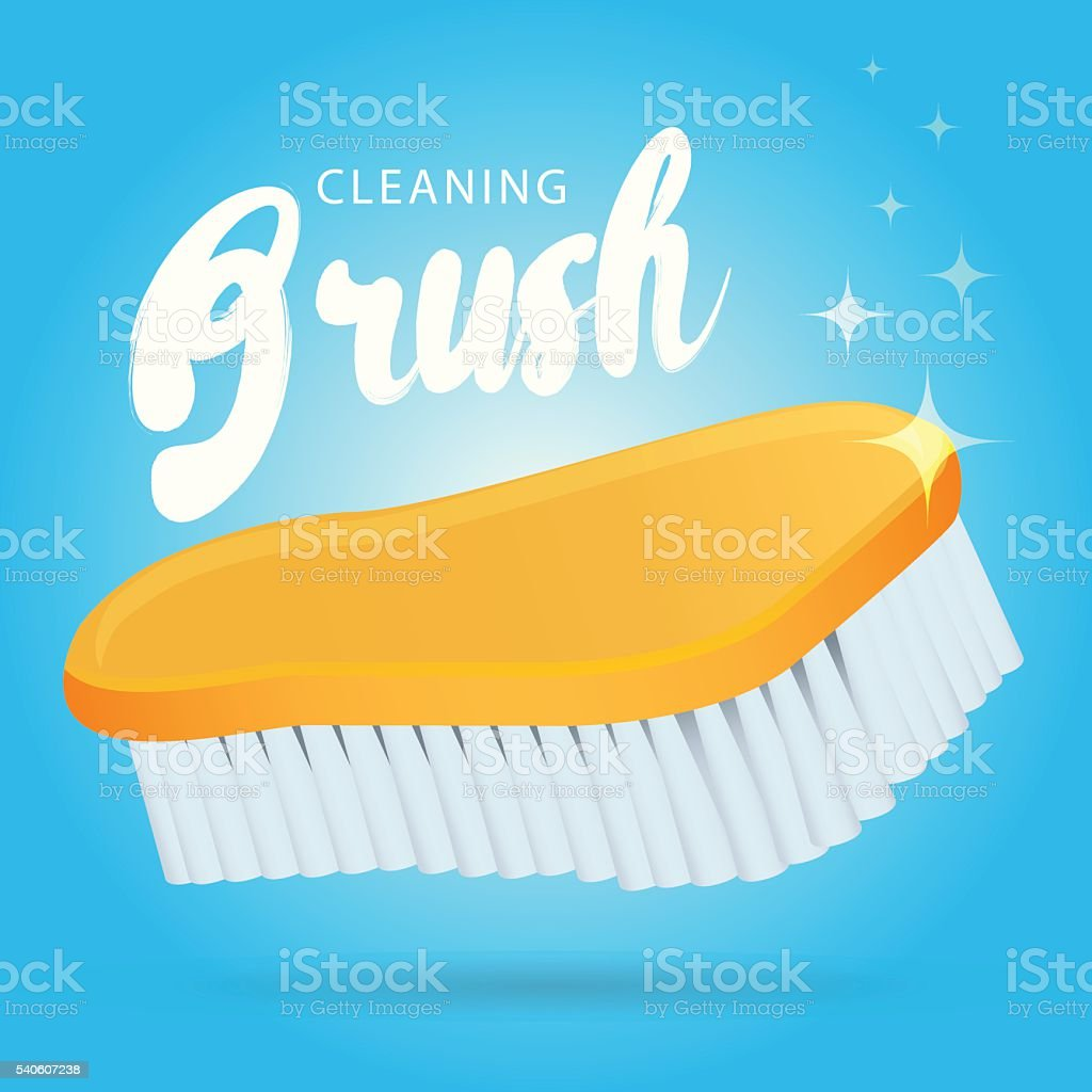 Vector plastic scrubbing and cleaning brush vector art illustration