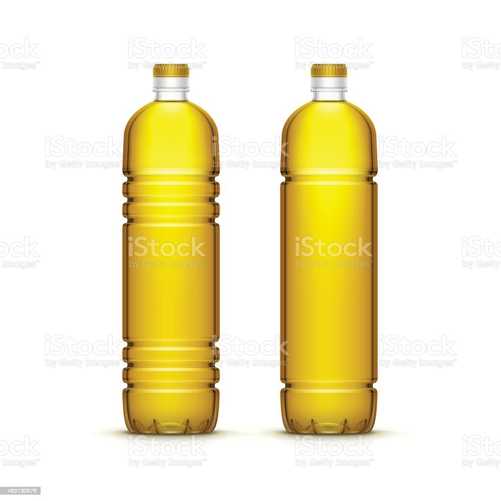 Vector Plastic Sunflower Olive Oil Blank Bottle Isolated vector art illustration