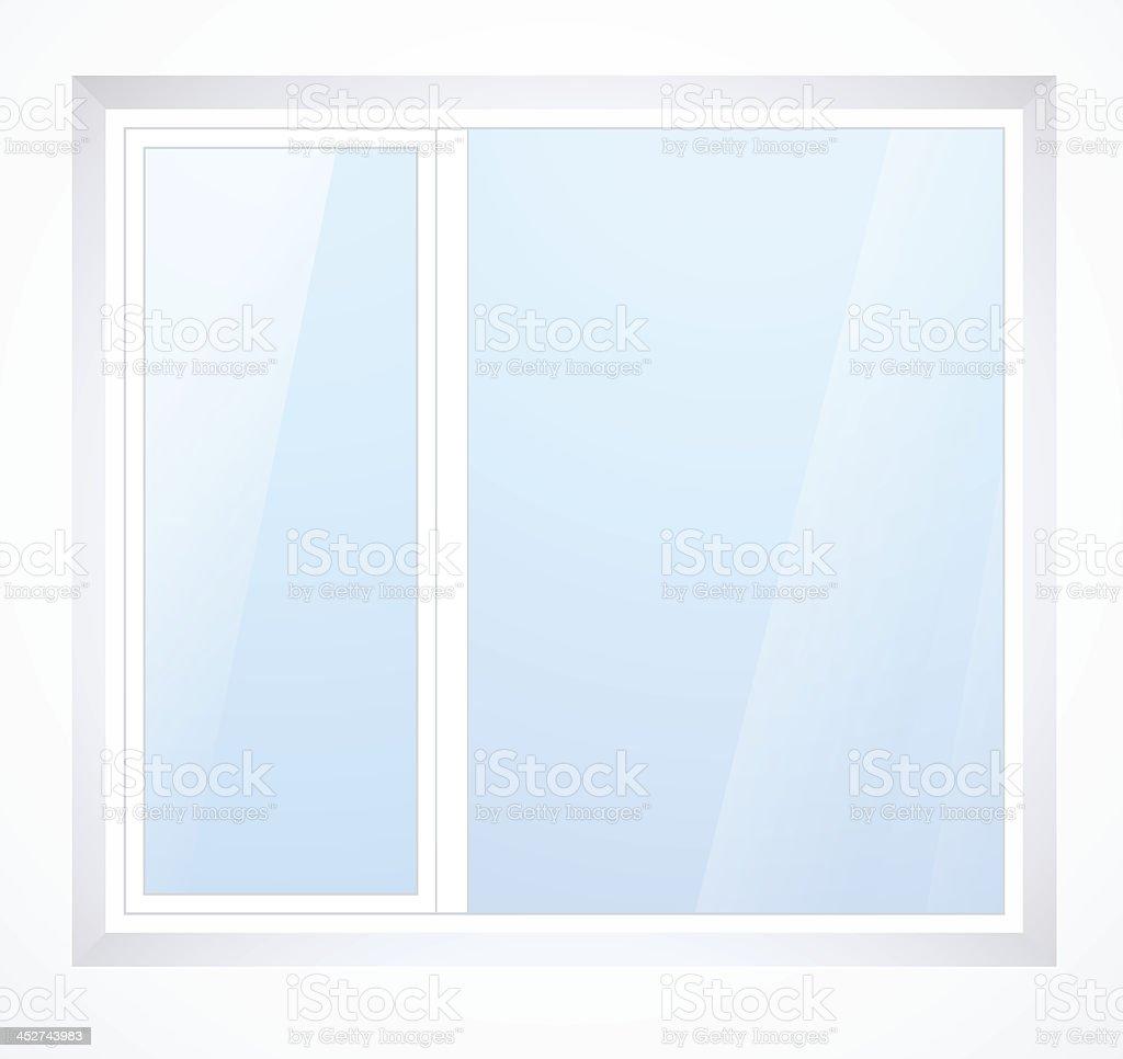 Vector plastic window with white frame vector art illustration