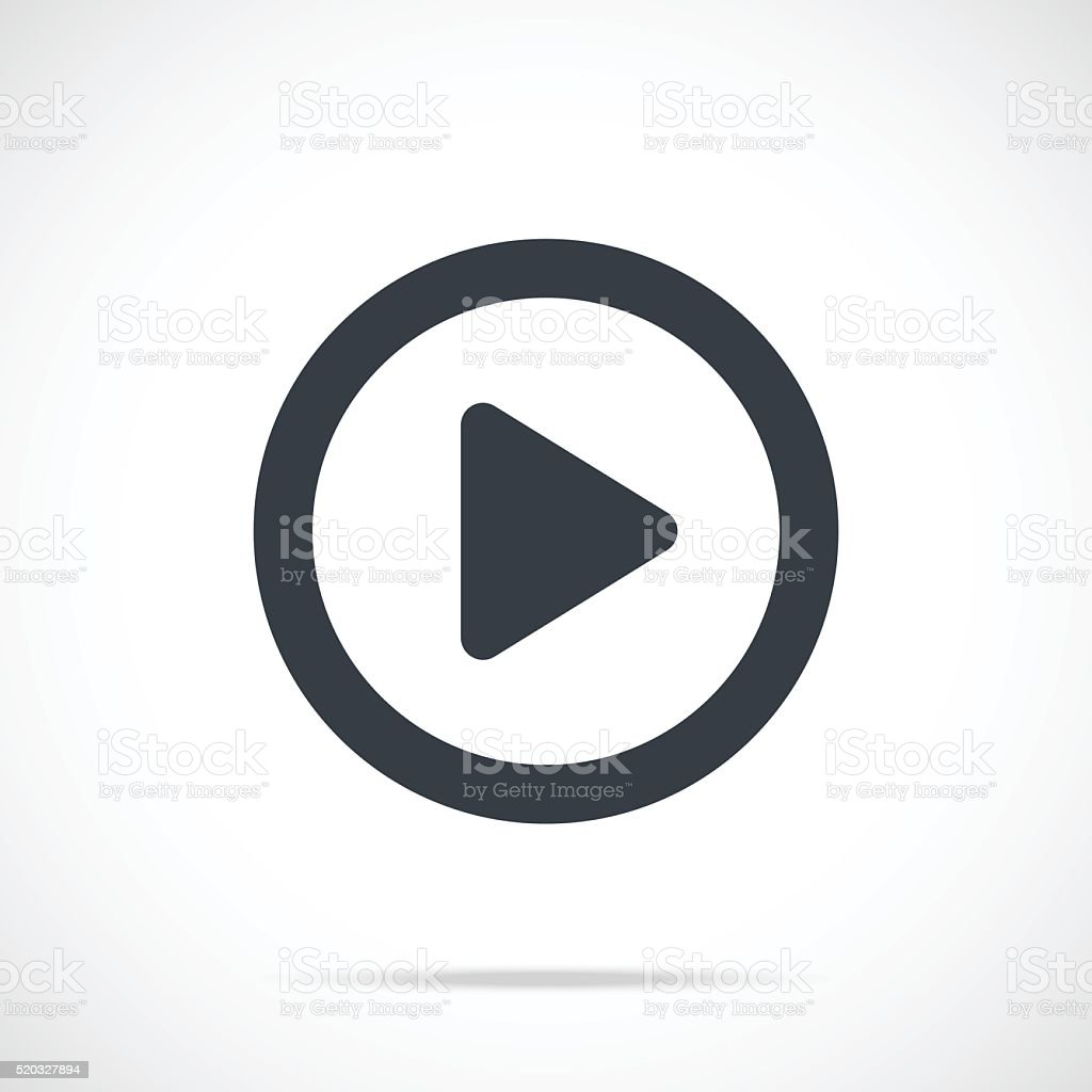 Vector play icon. Black play button, round flat icon vector art illustration