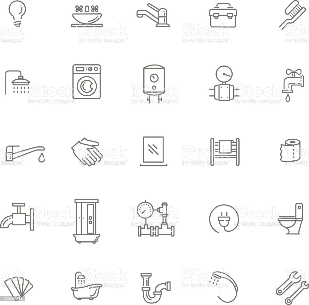 Vector plumbing  outline icons set vector art illustration