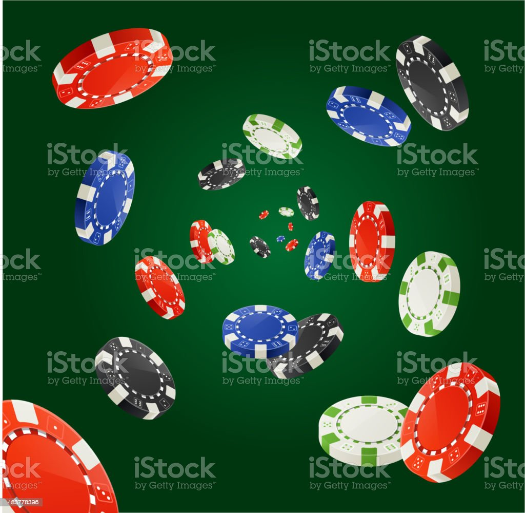 Vector Pocker Chips Rain Winner Concept isolated on dark green vector art illustration